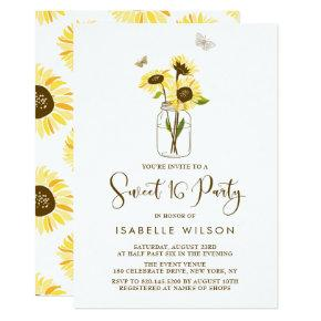 Sunflowers on Mason Jar Summer Sweet Sixteen Party Invitation