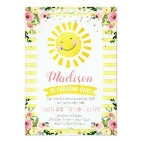 Sunshine First Birthday Invitation, Sun Birthday Invitation