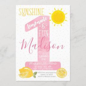 Sunshine Lemonade First Birthday Invitation