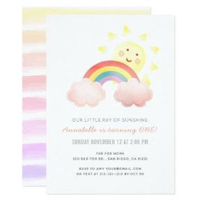 Sunshine & Rainbow Girl 1st Birthday Party Invitation