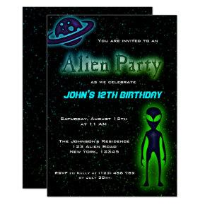Super Cool Alien Birthday Party Invite