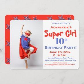 Super Girl - Child's Birthday Party Invitation-Red Invitation