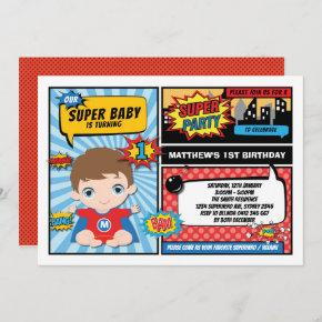Super Hero 1st Birthday Superhero Comics Party Invitation
