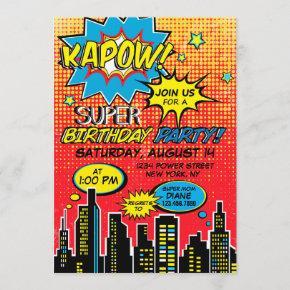 Super Hero Comic Book Birthday Invitation