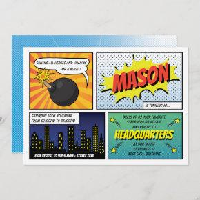 Super Heroes and Villains Kid's Birthday Party Invitation