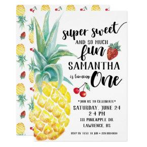 Super Sweet Fruit First Birthday Invitation