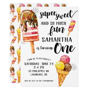 Super Sweet Ice Cream First Birthday Invitation