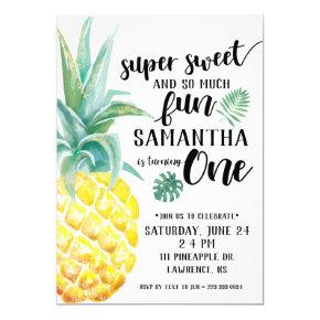 Super Sweet Pineapple First Birthday Invitation