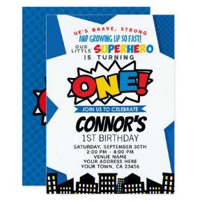 Superhero 1st Birthday Invitation