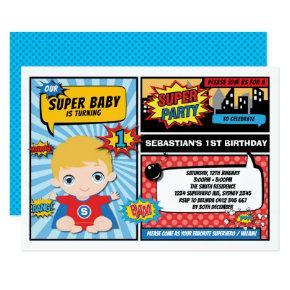 Superhero 1st Birthday Party Comics / Blonde Hair Invitation