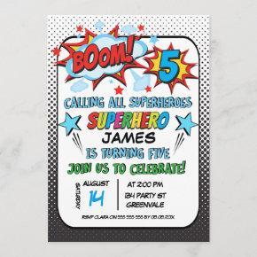 Superhero 5th birthday Party Invitation