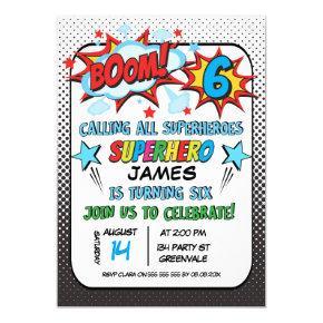 Superhero 6th birthday Party Invitation