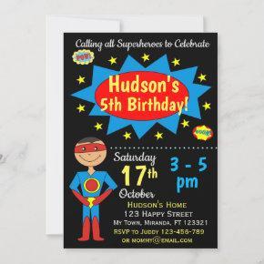 Superhero Birthday Invitation