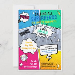 Superhero Birthday Invitation Comic Style