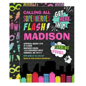 Superhero Birthday Invitations Pink Superhero Party