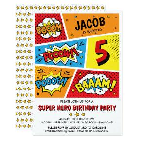 Superhero Birthday Party Invitation Any Age
