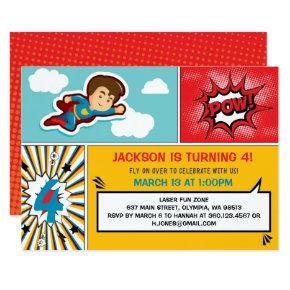 Superhero Birthday Party Invitation - Boy Colors