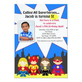 Superhero Birthday Party Photo Invitation