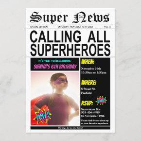 Superhero Birthday Party Super Hero Girl Photo Invitation