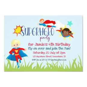 Superhero Boy/Girl Birthday Party Invitation