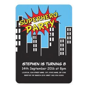 Superhero City Skyline Kids Birthday Invitations