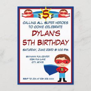 Superhero Comic Book Character Birthday Invitation