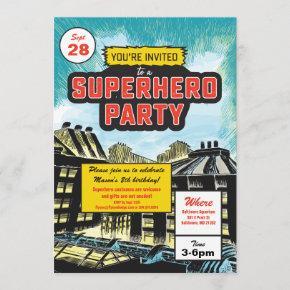 Superhero Comic Party Invitation