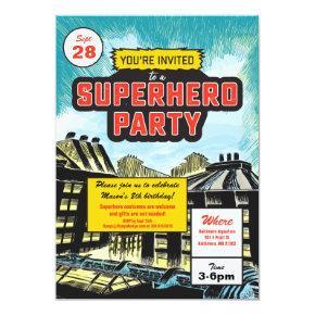 Superhero Comic Party Invitations