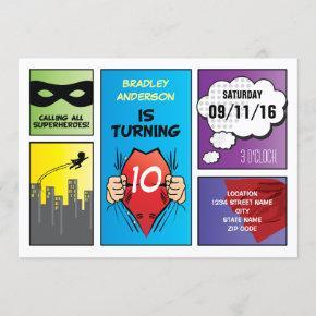 Superhero Comic Strip Kids Birthday Invitation