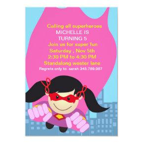 Superhero girl Birthday Invitation for the super b