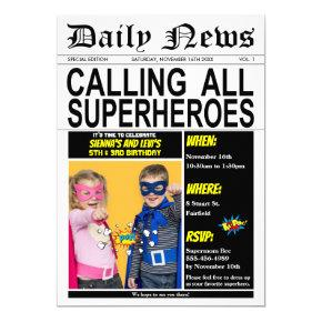 Superhero Joint Birthday Party Super Hero Photo Invitation