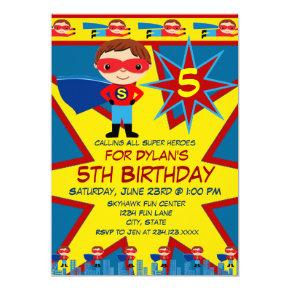Superhero Kids Boys Birthday Party Invitations Blue