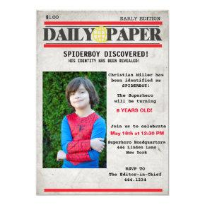 Superhero Newspaper Birthday Invitations