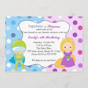 Superhero Princess Invitation Kids Birthday Party