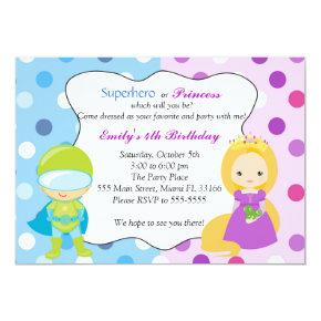 Superhero Princess Invitation Kids Birthday Party