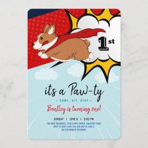 Superhero Puppy birthday invitation