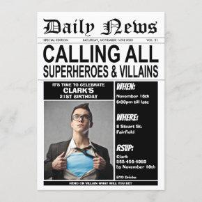 Superheroes or Villains Birthday Party Superhero Invitation