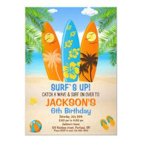 Surfboard Birthday Invitations Candied Clouds
