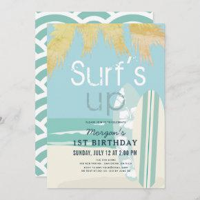 Surf's Up Boy Surfboards Beach 1st Birthday Invitation