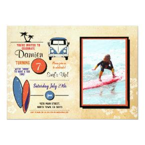 Surfs Up! Surfing Birthday Beach Party Photo Invitation