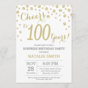 Surprise 100th Birthday Gold Glitter Diamond Invitation