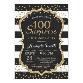Surprise 100th Birthday Invitation Gold Glitter