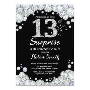 Surprise 13th Birthday Invitation Silver Diamond