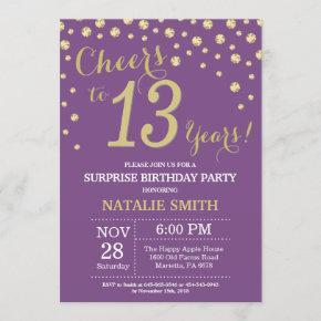 Surprise 13th Birthday Purple and Gold Diamond Invitation