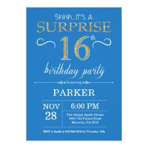 Surprise 16th Birthday Invitation Blue And Gold
