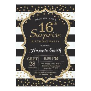 Surprise 16th Birthday Invitation. Gold Glitter Card