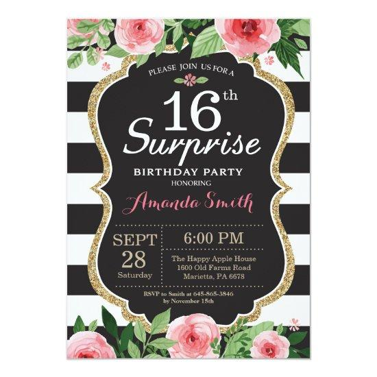 Surprise 16th Birthday Invitation Women Floral
