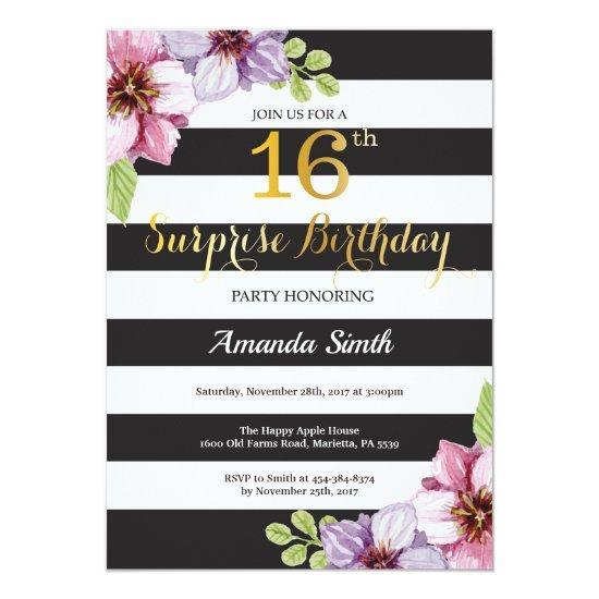 Surprise 16th Birthday Invitations Women Floral