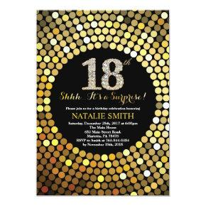 Surprise 18th Birthday Black and Gold Glitter Invitation