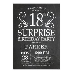 Surprise 18th Birthday Invitations Chalkboard